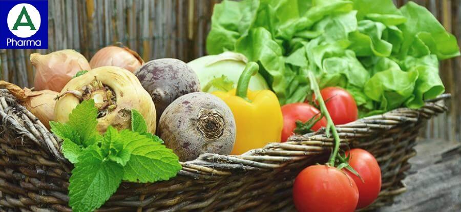 Rau và trái cây có chứa nhiều vitamin và chất xơ