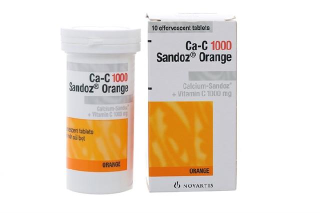 Viên sủi bổ sung canxi Ca-C 1000 Sandoz Orange