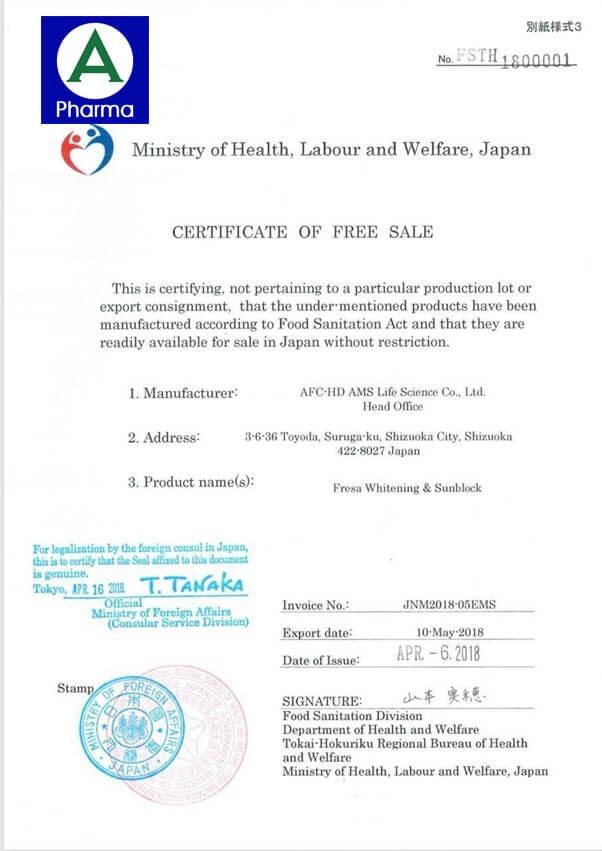 Giấy chứng nhận an toàn viên uống trắng da Fresa Nhật Bản