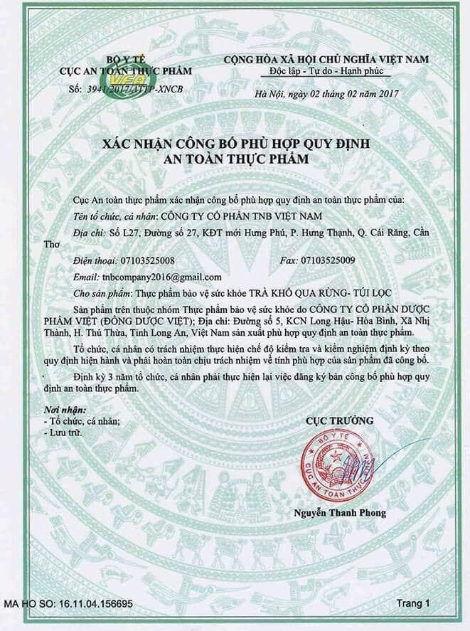 Giấy công bố của Bộ Y tế chứng nhận chất lượng của viên uống khổ qua rừng Mudaru
