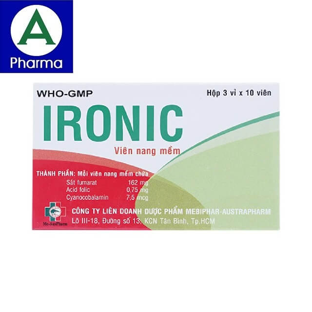 Thuốc ngăn ngừa và điều trị thiếu máu Ironic 3x10 được sản xuất bởi Mebiphar - Austrapharm