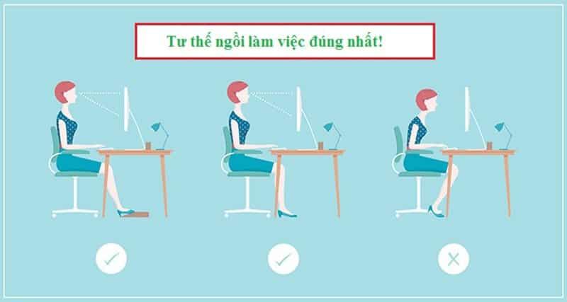 Ngồi máy tính đúng tư thế giúp bảo vệ mắt