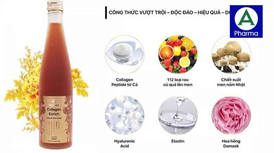 Nước uống Hebora Collagen Enrich chứa các thành phần tinh túy để giữ gìn thanh xuân