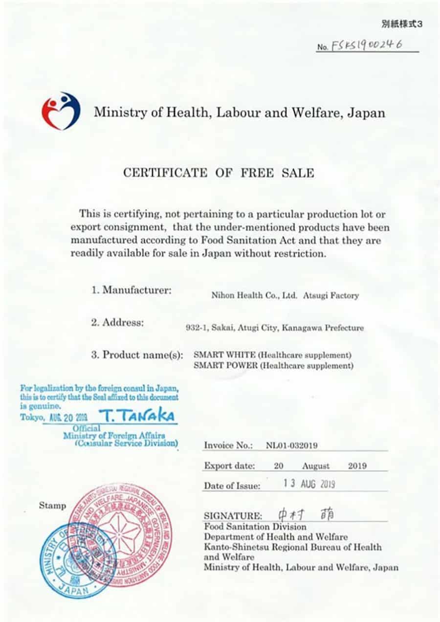 Giấy chứng nhận sản phẩm được sản xuất tại nhà máy đạt chuẩn GMP tại Nhật Bản